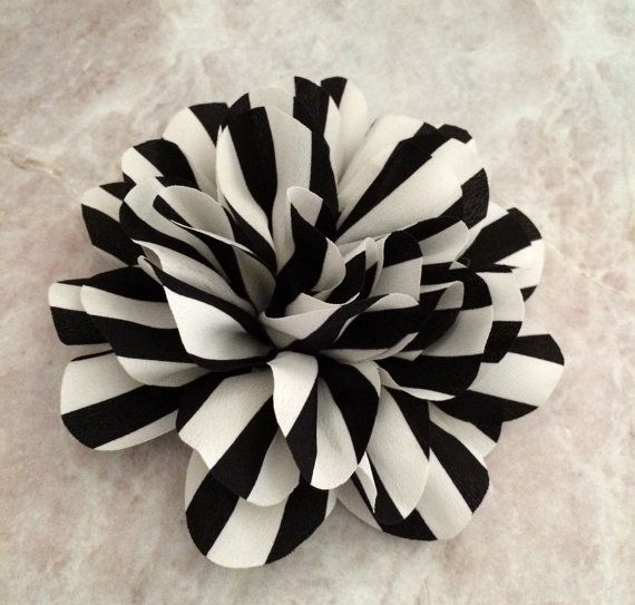 """Striped flower chiffon flower flower puff DIY by BlingBasement / approx 4.8"""" across / comes in a variety of colours"""
