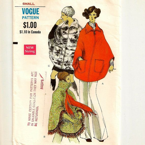 Fabulous Vogue Poncho Pattern  Small 810 Bust 311/2  by SoSewSome, $19.00