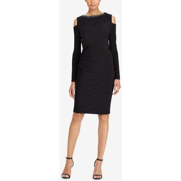 e391bbf521b Lauren Ralph Lauren Cold-Shoulder Jersey Dress ( 180) ❤ liked on Polyvore  featuring dresses