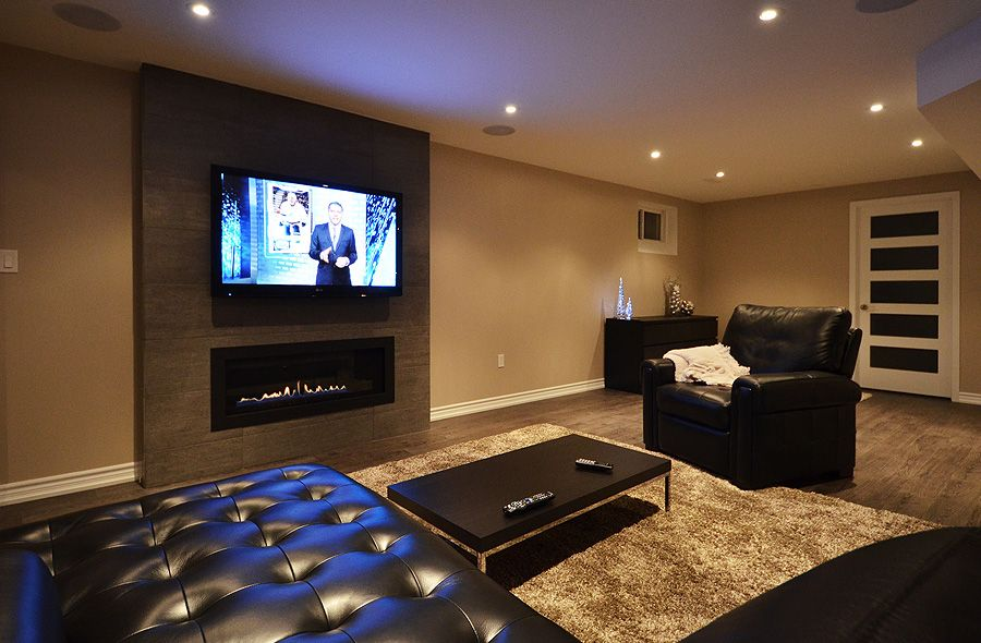 Finished basement home theatre room tv room surround Tv room
