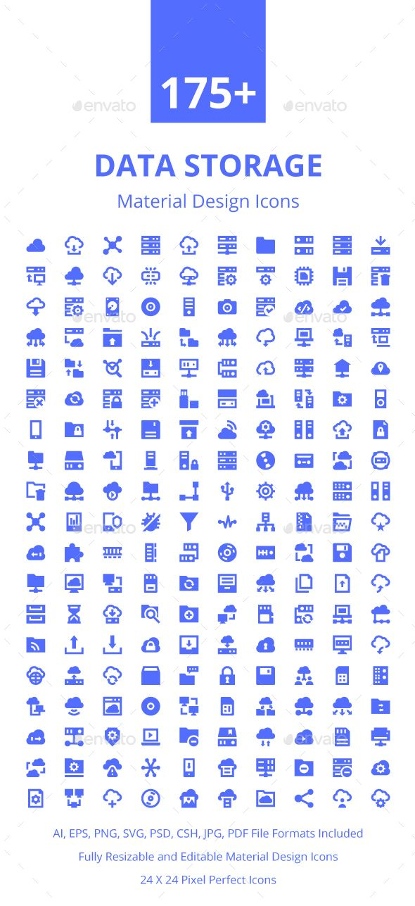 175 Data Storage Material Icons With Images School Icon