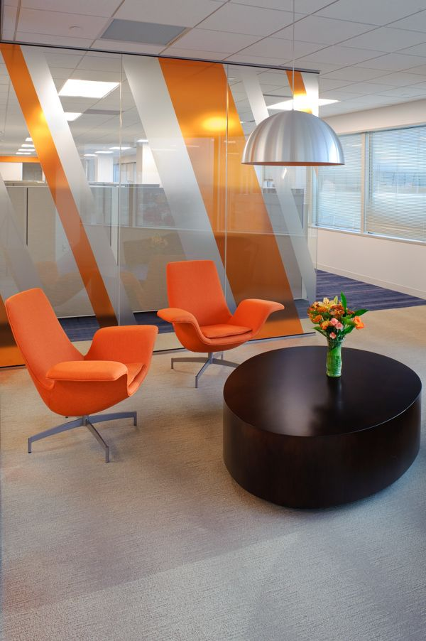 Orange Stripes On Office Meeting Room Great Abstract Branding For Area