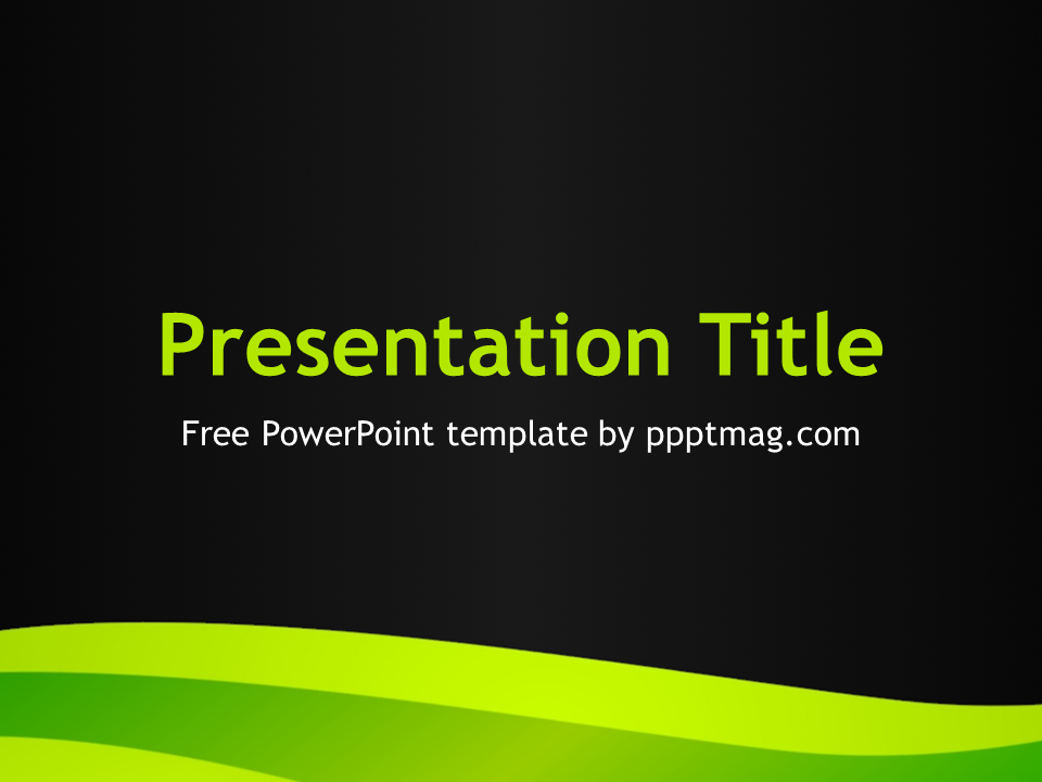 This Green Curves Powerpoint Template Is A Black Powerpoint Template