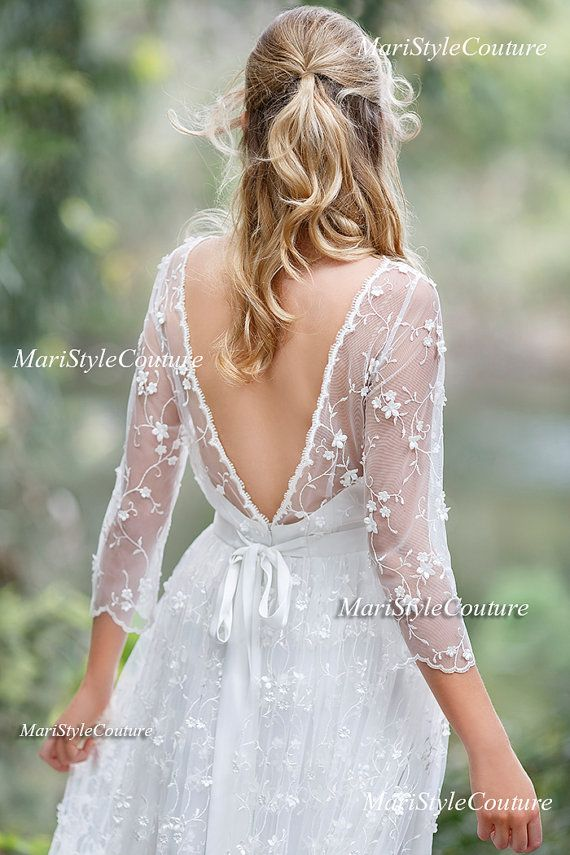 Romantic Boho Wedding dress from Chiffon, Italian Lace ,Open V-back wedding dress Romantic and Dreamy Wedding Dress