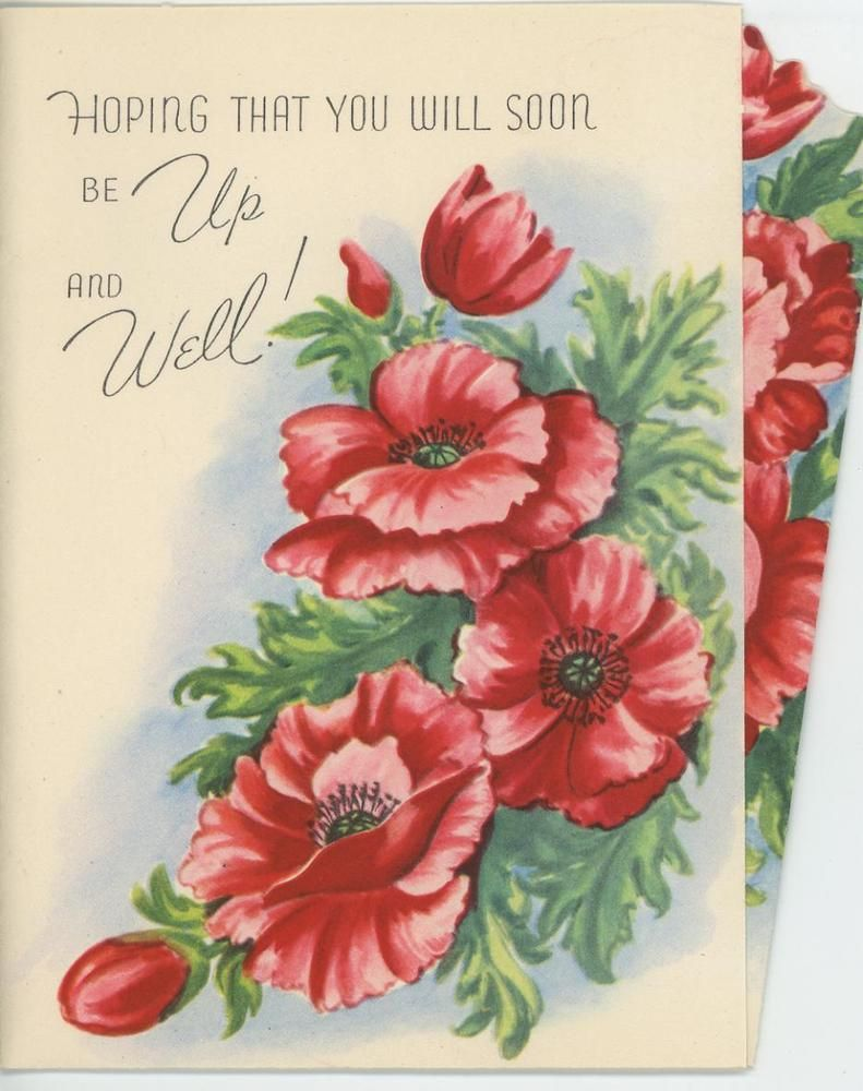 Vintage 1940s Red Poppy Poppies Flowers Get Well Greeting Card