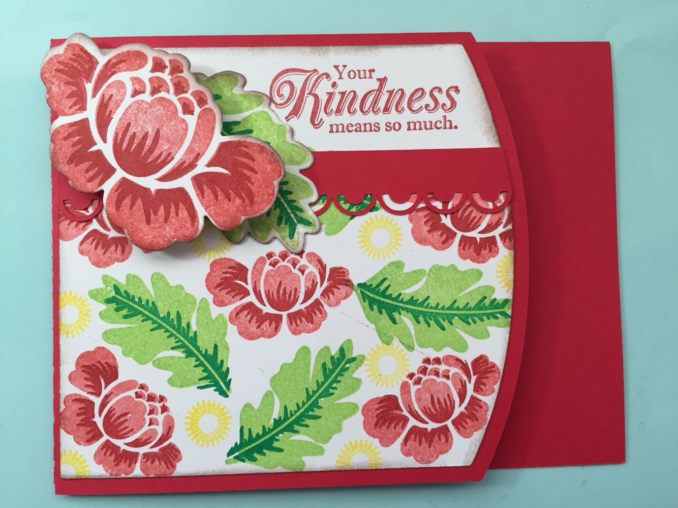 "Thank you card using Papertrey Ink Rosie Posie flowers and Stampin Up ""Your Kindness.."" Sentiment from the From My Heart Set."