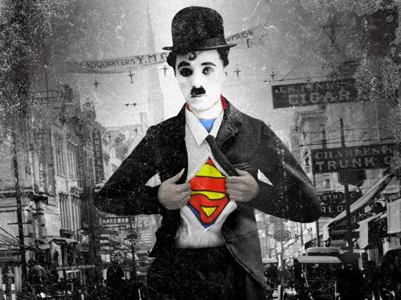 Cute Pug Wallpapers For Iphone Charlie Chaplin Is Superman Digital Print B Comics By