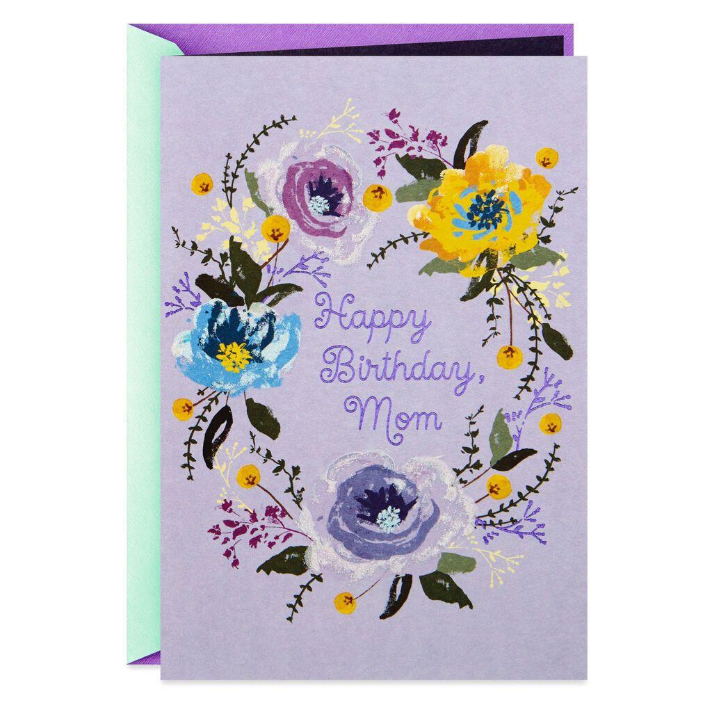 Flower Wreath On Lavender Birthday Card For Mom Greeting Cards Hallmark Birthday Cards For Mom Birthday Cards Birthday Greeting Cards