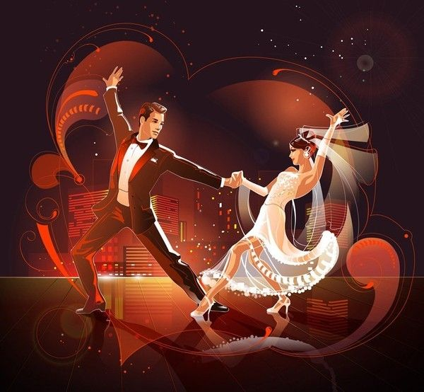 Открытка танцоров, напоминанием