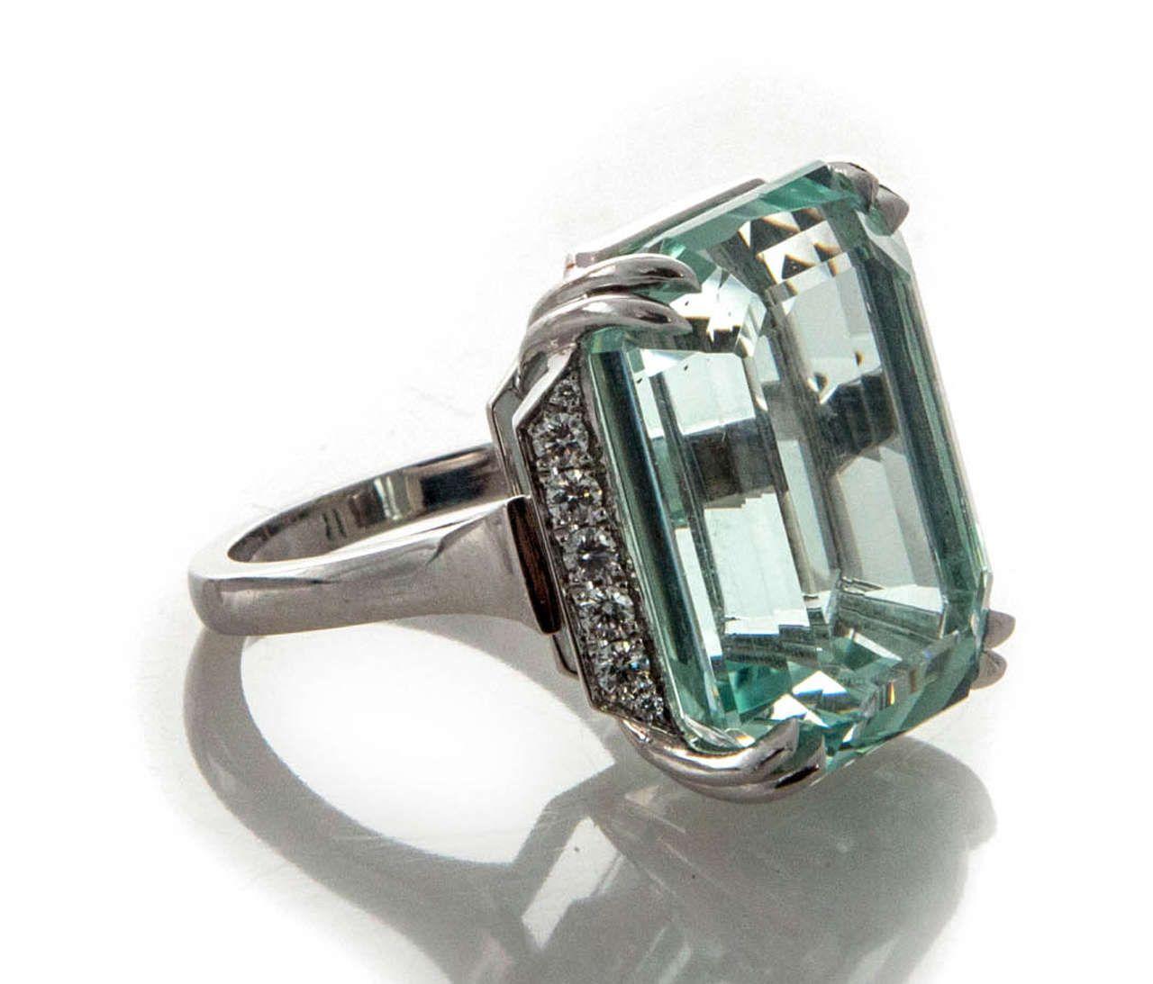 Natural Aquamarine DIamond Platinum Ring | Platinum ring ...