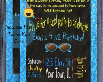 blue half birthday pool party invitation boys half birthday invite