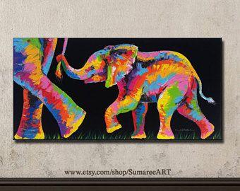 Bunte Elefanten Malen 48cmh X 98cmw Elephant Painting Elephant Canvas Art Elephant Canvas