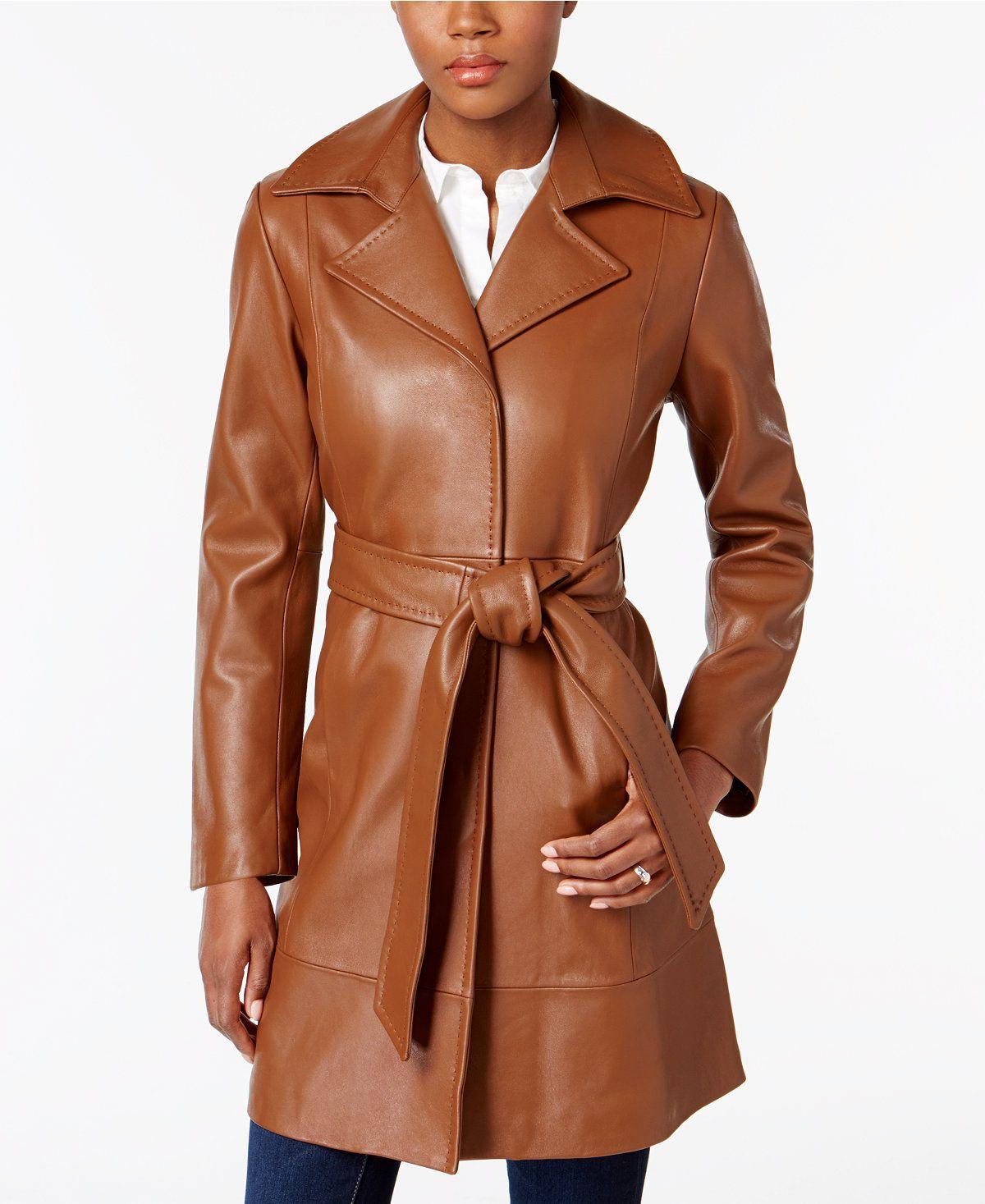 Jones New York Leather Belted Trench Coat Coats Women