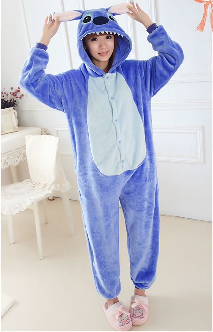 3fc18598b6 Flannel family animal pajamas one piece onsies onesies cosplay blue stitch…