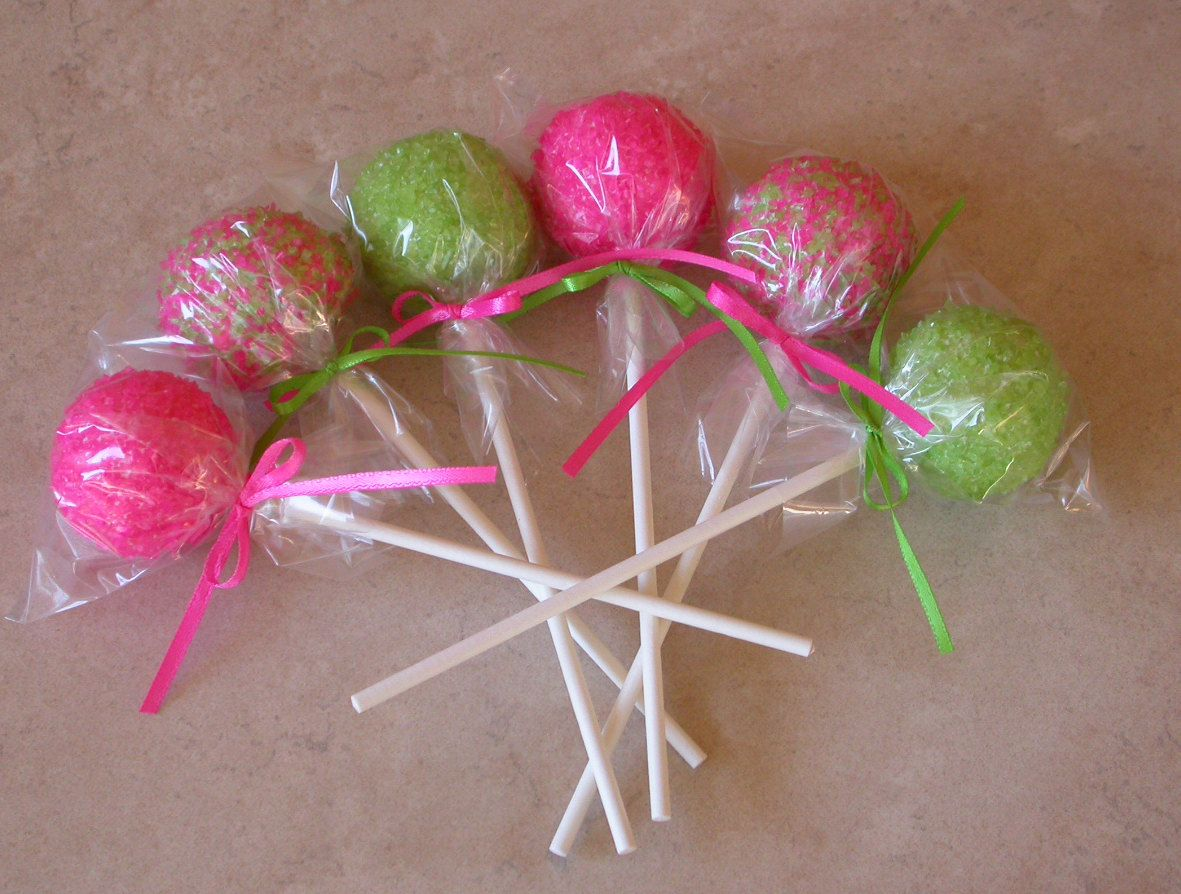 Birthday cake pops pink and lime green bridal shower baby shower