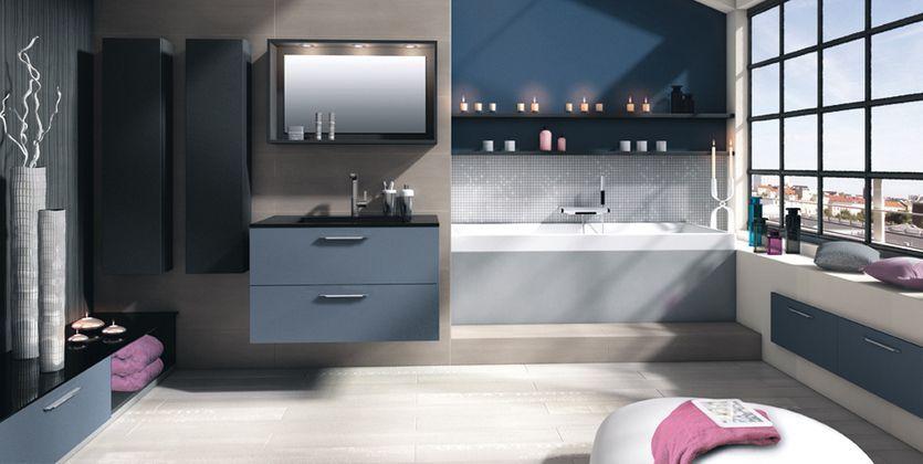 Salle de bain bleu gris Salle de bain Pinterest Interiors - salle de bain bleu gris