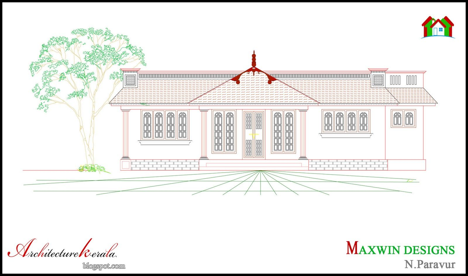 Architecture kerala 3 bhk single floor kerala house plan for Veedu elevation