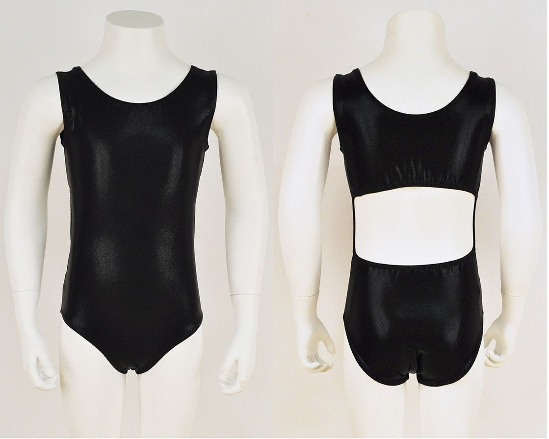 36e2539f33ba A little black...gymnastics leotard. Every girl needs one! A simple and  classic girls leotard with an open back design