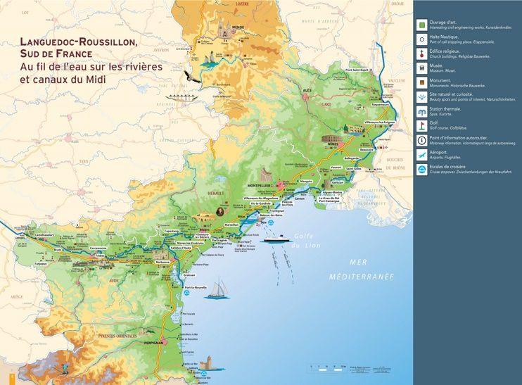 LanguedocRoussillon tourist map Maps Pinterest Tourist map