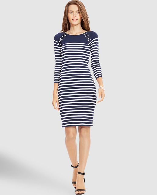 New 125 Ralph Lauren Navy Blue White Striped French Sailor Nautical Dress Xl