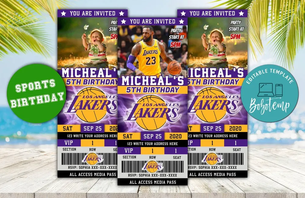 Editable Los Angeles Lakers Party Ticket Invitations in