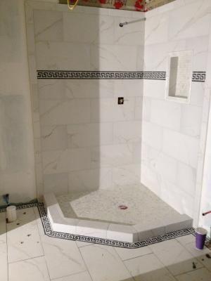 calacatta tile from loweu0027s bathroom floor and shower floor u0026 walls