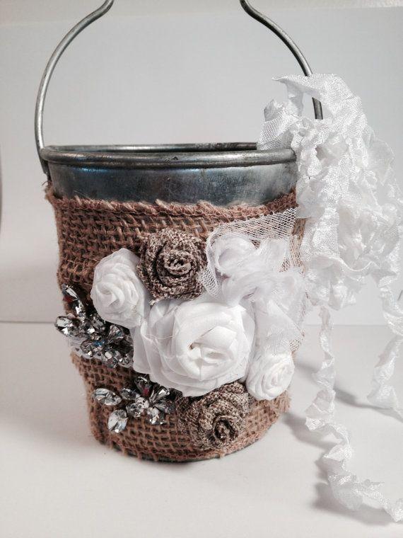 Flower Girl, Flower Girl Basket, Flower Girl Pail, Burlap Wedding, Rustic Wedding, Burlap Wedding Accessories, Burlap Wedding Decorations
