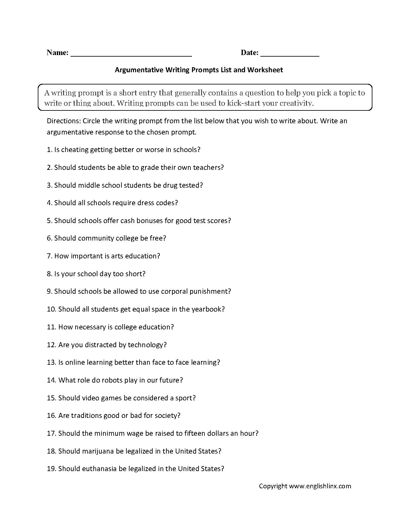 Writing Prompt Worksheet Argumentative Prompts Good Essay Topic Sports