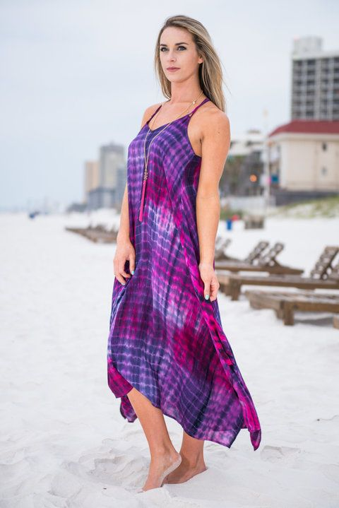 We can't even imagine a more gorgeous, fun maxi dress! Those colors are mesmerizing! That tie dye is summer perfection! This maxi isn't lined and it honestly doesn't need it! The fabric is thin and breathable but it's not sheer at all so you will stay nice and cool in this dreamy maxi!