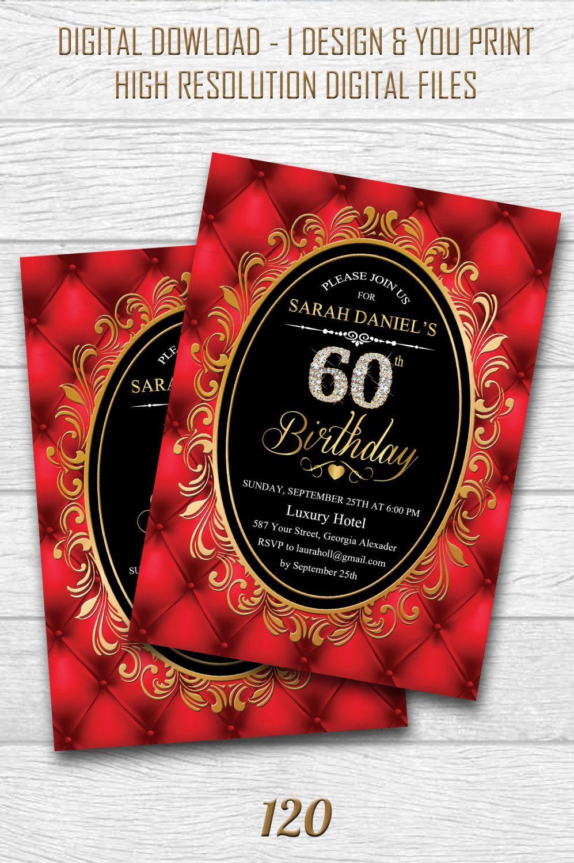 60th Birthday Invitation for Women. 60th Birthday