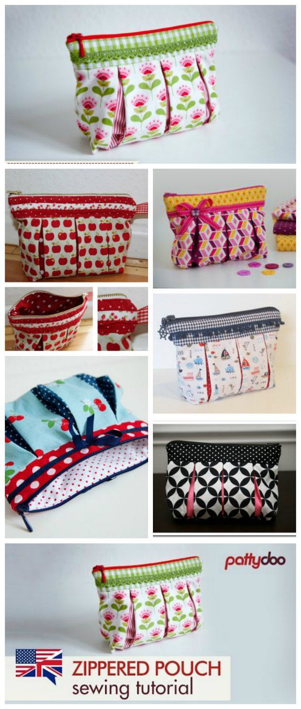Susie box pleated cosmetics bag.  Free DIY sewing pattern and video in English/German for this cute bag.