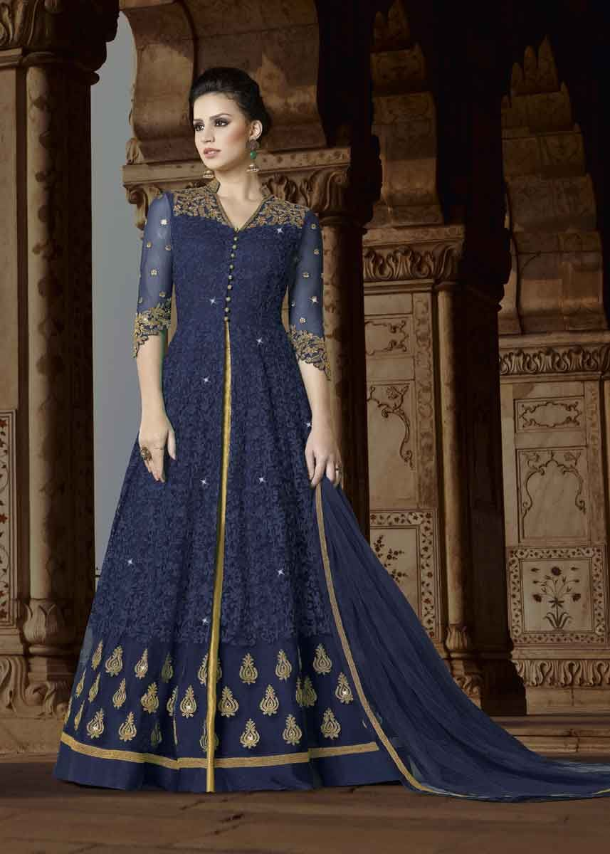 785a760afc This gorgeous and fashionable navy blue color premium net embroidered party  wear anarkali suit will definitely make your cynosure of all eyes.