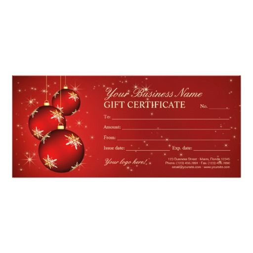 Christmas Gift Certificates Holiday Gift Cards Template All