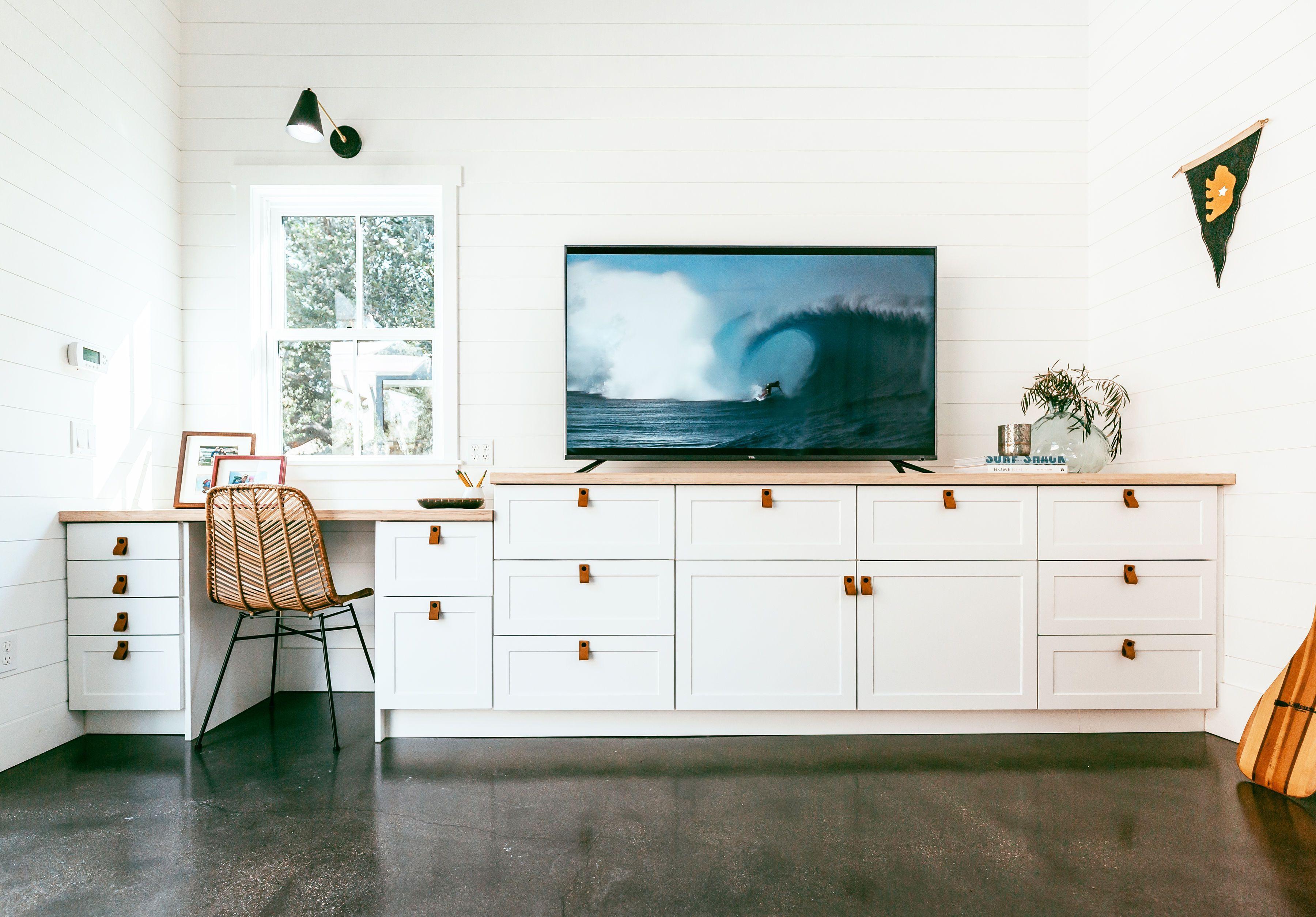 Custom Desk And Media Center Using Ikea Sektion And Semihandmade Custom Desk Media Room Design Ikea Built In