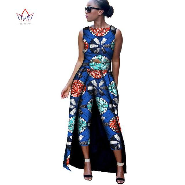b7e45c5c5bf9 BRW 2017 New Fashion Africa Cotton Print Romper African Bazin Riche Jumpsuit  For Women Dashiki Fitness Jumpsuit For Lady WYD8