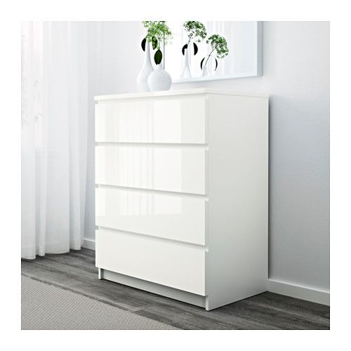 Ikea Malm Chest Of 4 Drawers Extra Roomy More E For Storage Hi Gloss White 65