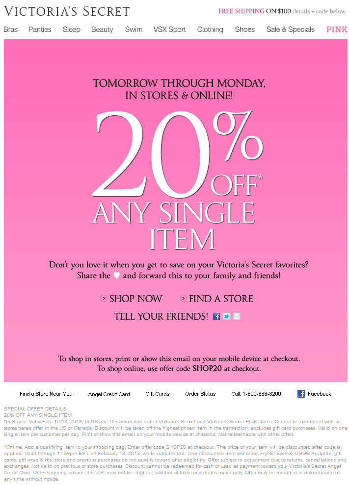 victoria secret coupon offers