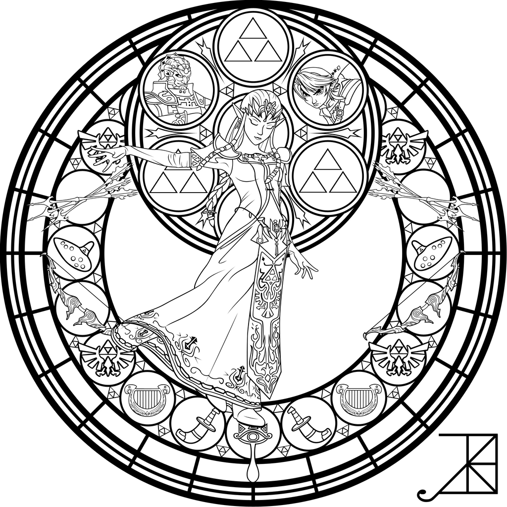 Stained Glass Zelda Coloring Page By Akili Amethyst On Deviantart Coloring Pages Coloring Pages Inspirational Disney Coloring Pages