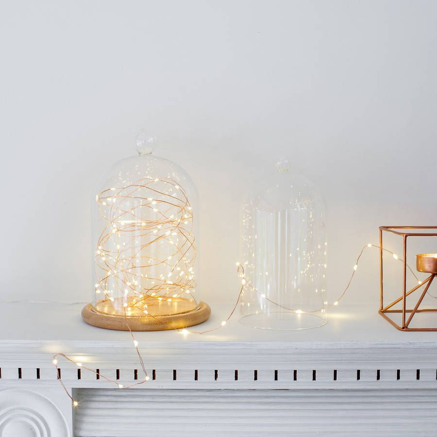 Glass Bell Jar With Copper Micro Fairy Lights | Bell jars, Lights ...