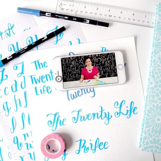 We love seeing what all of you create! @thetwentylife is spending the afternoon taking our online hand-lettering class. Who else is learning something new today? #britstagram #diy #iamcreative #regram