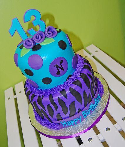 Cakespurple turquoise and black zebra print 13th birthday cake