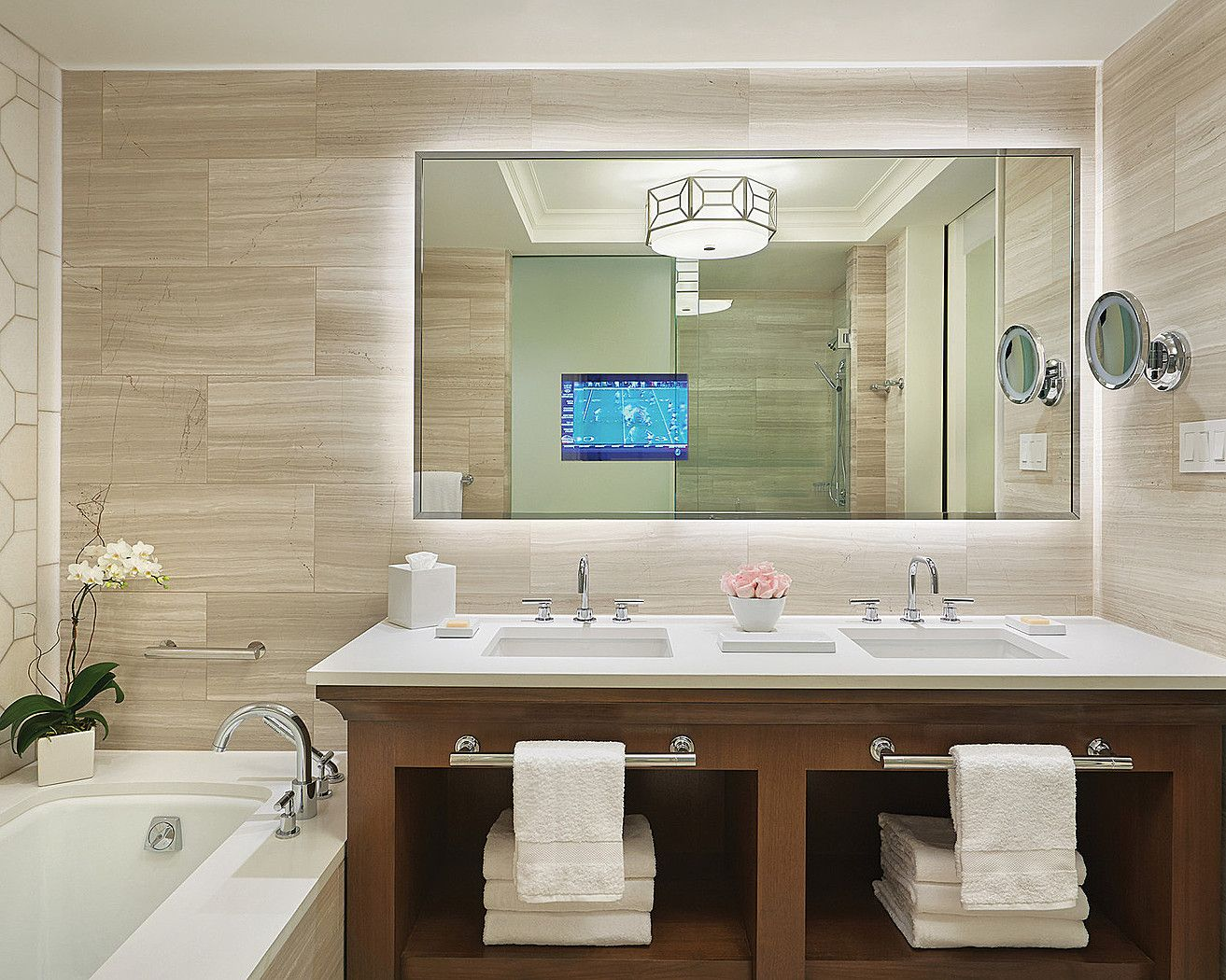 The Guestroom Bath Includes A 5 Piece With Double Sinks Electric Mirror Television