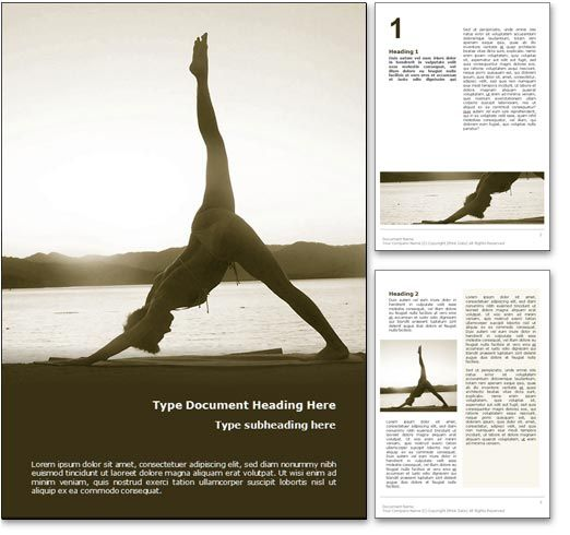 Yoga Newsletter Templates  The Asanas Word Template In Yellow For