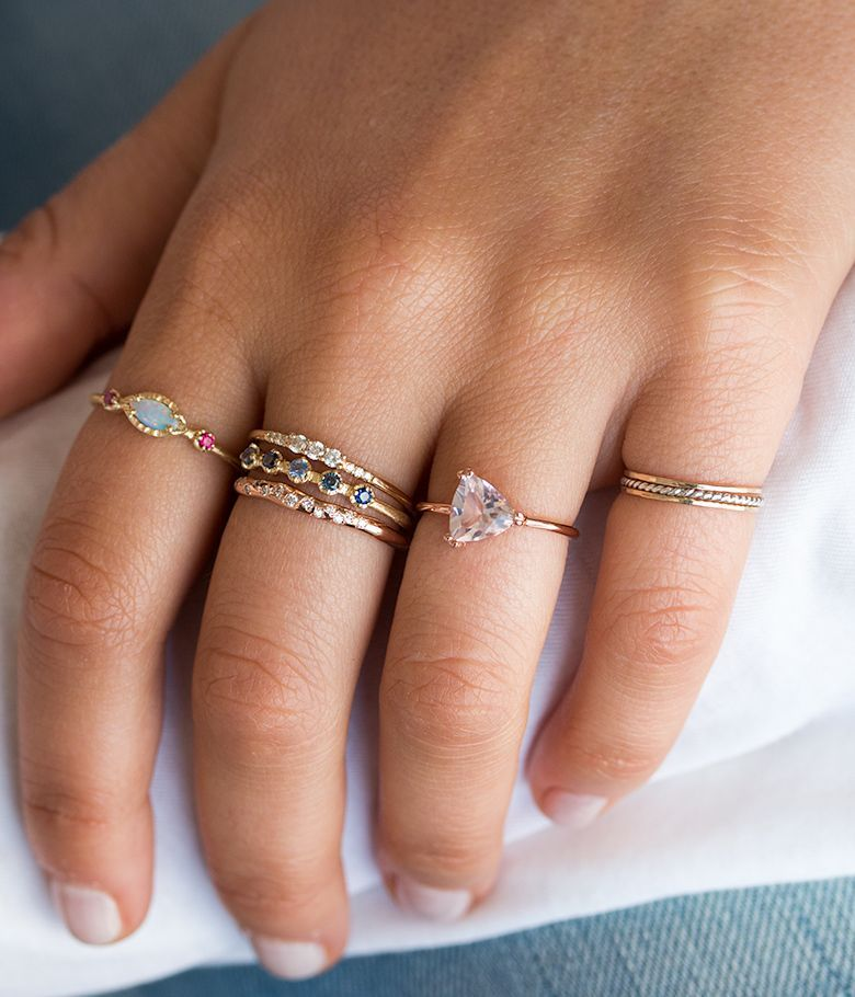 sun rose et band audry diamond white luxe rings bijoux pin bijou de