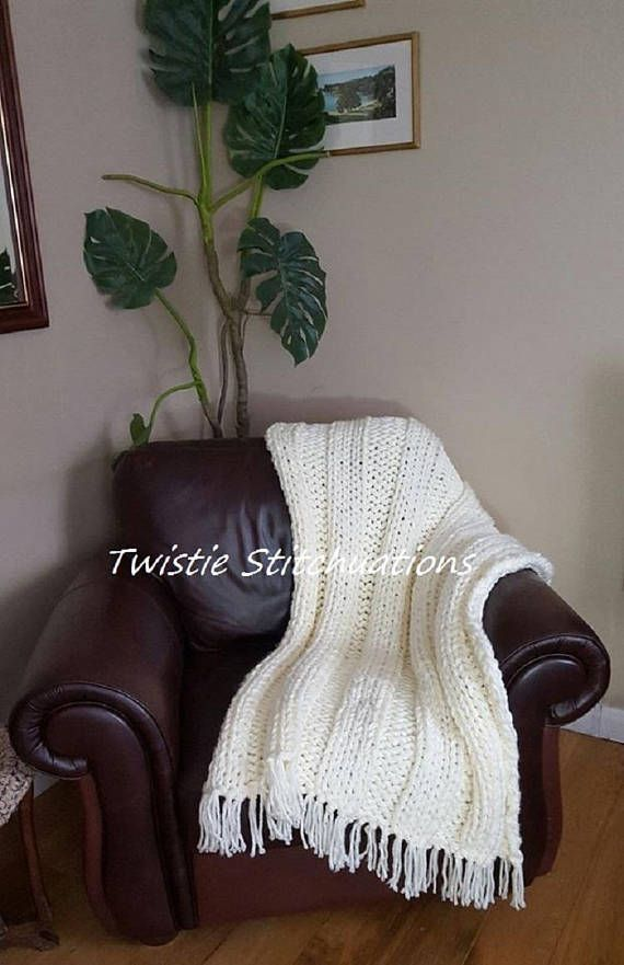 Hand Knitted Cream Throw Chunky Knit Handmade Blanket Sofa Throw Giant  Needle Knitting Bed Throw Chair Throw Lap Blanket For These Throws, I Use  My Homemade ...