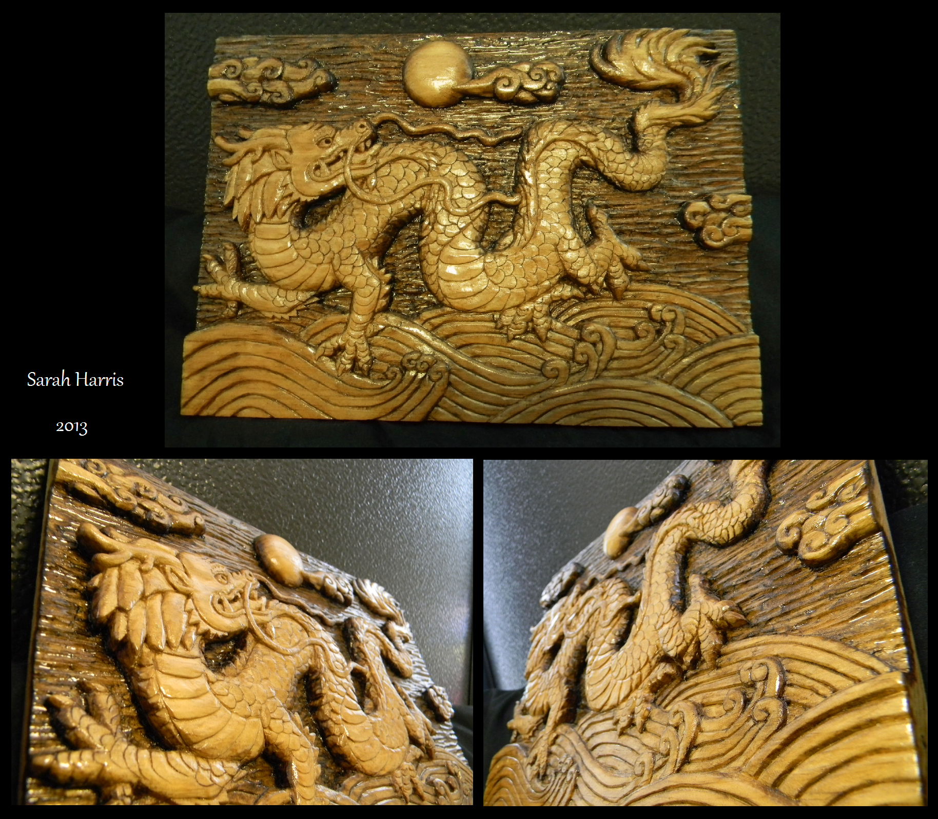 Chinese Dragon Relief Carving wood
