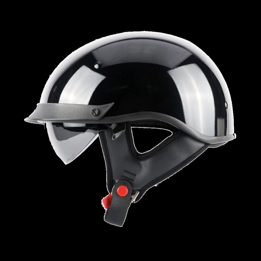 Dot Certified Biker Half Helmet W Retractable Visor