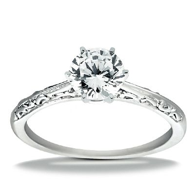 14k White Gold Classic Solitaire Engagement Ring - 9000679