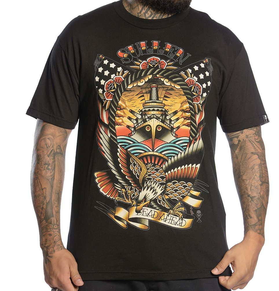 Dead ahead features a traditional style nautical themed design with
