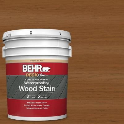 Behr Deckplus 5 Gal St 115 Antique Brass Semi Transparent Waterproofing Exterior Wood Stain 307705 Exterior Wood Stain Staining Wood Exterior Wood
